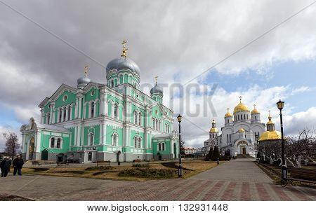 Diveevo, Russia - March 20, 2015: Trinity and the Transfiguration Cathedrals of Holy Trinity-Saint Seraphim-Diveyevo Monastery. Nizhny Novgorod Region. Russia