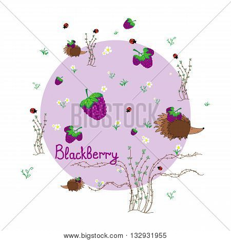 Blackberry meadow with animals. Forest background. Print for children. Background for kids