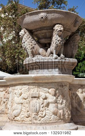 Detail of the Morosini Fountain on the Lions Square in the city of Heraklion, Crete