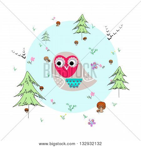 Forest glade with owl, animals and plants. Forest background. Print for children. Background for kids