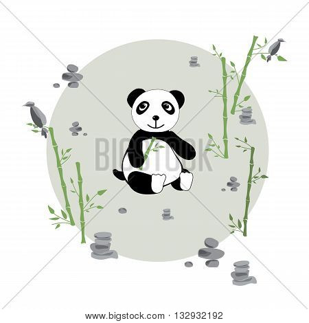 Glade with panda bamboo and stones. Print for children. Background for kids. Vector illustration