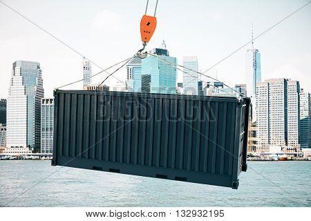 Crane Hook With Black Cargo