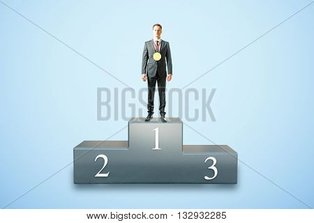 Businessman with medal on first place pedestal and blue background. 3D Rendering