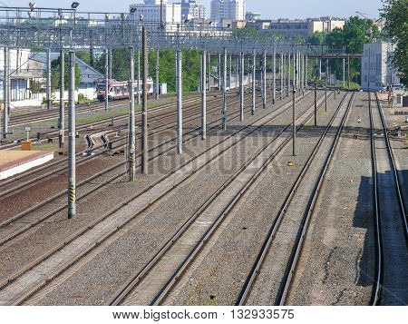 Minsk, Belarus - May 31, 2016 : Train tracks on the
