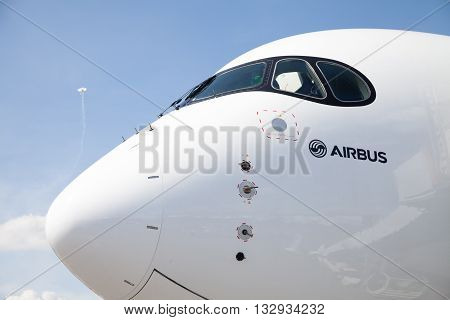 BERLIN / GERMANY - JUNE 32016: Airbus A 350 - 900 plane stands on airport in Berlin / Germany on June 3 2016.