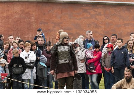 St-Petersburg, Russia - May 28, 2016: Preparation for the Vikings. Historical reenactment and festival on may 28 2016 in Saint Petersburg Russia