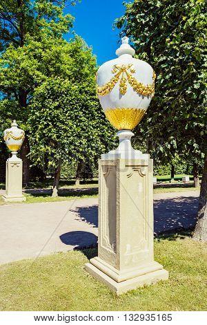 Ornamental marble vases in Peterhof garden. Saint Petersburg. Russia