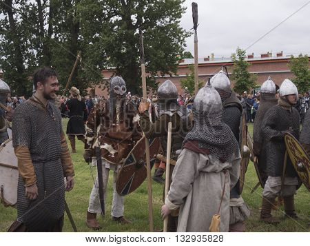 St-Petersburg, Russia - May 28,2016: Preparation for the Vikings. Historical reenactment on may 28 2016 in Saint Petersburg Russia