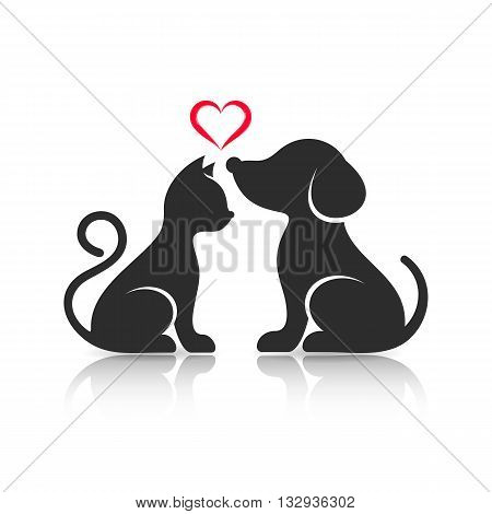 Cute cat and dog silhouettes with reflection