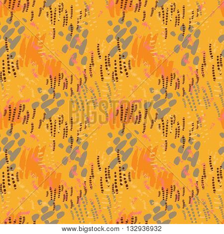 Safari seamless pattern. Hand painted orange brush strokes . Abstract repeating vector. Texture for scrapbooking wrapping paper web textile wallpapers surface design fashion skins smartphones