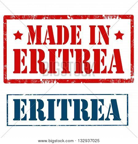 Set of stamps with text Made In Eritrea,vector illustration