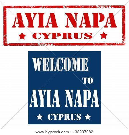 Set of stamps with text Ayia Napa-Cyprus,vector illustration