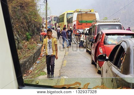 Besisakhar, Nepal - April 12, 2016: Traffic jam on mountain road