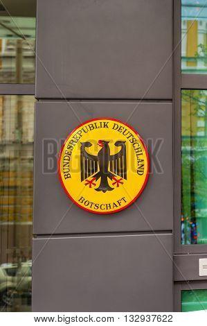 KIEV, UKRAINE - APRIL 18, 2015 German Official Symbol Germany Embassy National Symbol Kiev Ukraine.