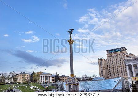 KIEV, UKRAINE - APRIL 18, 2015 Independence Monument Symbol of Ukraine Independence and Orange Revolution Maidan Square Kiev Ukraine. Placard Memorials for those killed at Maidan