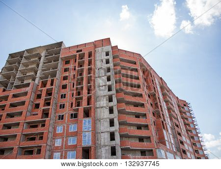 construction of new modern residential building on summer