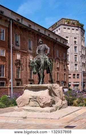 Milan Italy - May 25 2016: Equestrian statue of Giuseppe Missori -1829-1911- Italian military leader Garibaldi follower. Sculptor Riccardo Ripamonti. Piazza Missori.