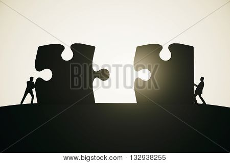 Partnership concept with businesspeople silhouettes putting puzzle pieces together on abstract light background