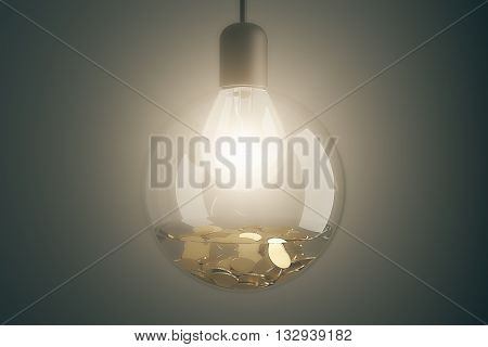 Money making idea with illuminated lightbulb inside transparent glass bowl with water and coins on dark grey background. 3D Rendering