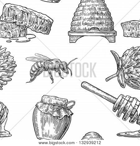 Honey Seamless Pattern. Jars beer and honeycomb. Hand drawn design element. Vector engraved illustration. Isolated on white background.