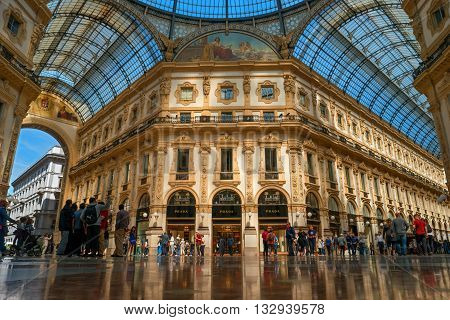 Milan Italy - May 25 2016: The central part of the gallery Vittorio Emanuele II. The gallery was designed by the architect Giuseppe Mengoni in the 1865-1877 biennium.