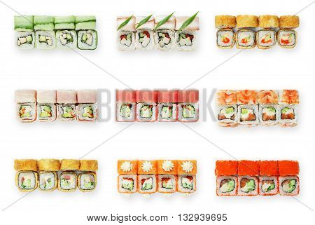 Japanese food restaurant delivery, sushi set top view. Sushi unagi, tempura rolls california with salmon, avocado, tuna, caviar and cheese isolated at white background. Sushi rolls top view, flat lay.