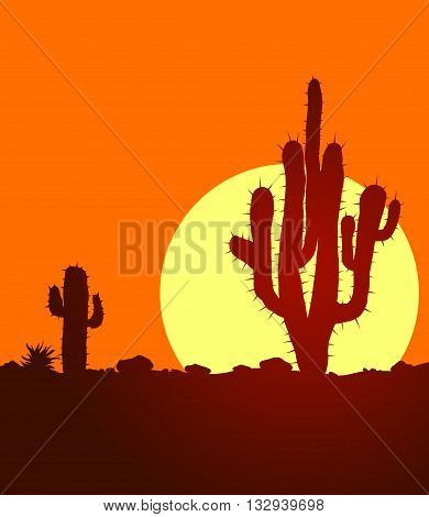 Sunset in lifless stone desert with cactuses. Vector landscape with huge warm sun in desert.