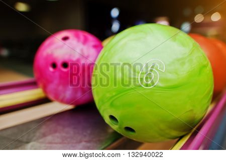 Two Colored Bowling Balls Of Number 6 And 7. Kids Ball For Bowling