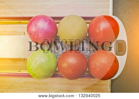 The word bowling background bowling balls at alley