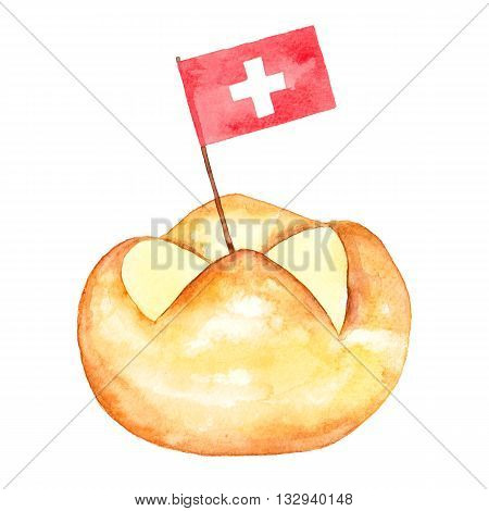 Watercolor swiss bread bun on white background. Swiss traditional food