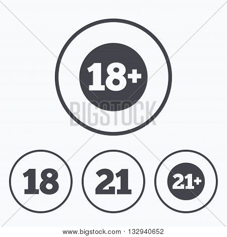 Adult content icons. Eighteen and twenty-one plus years sign symbols. Icons in circles.