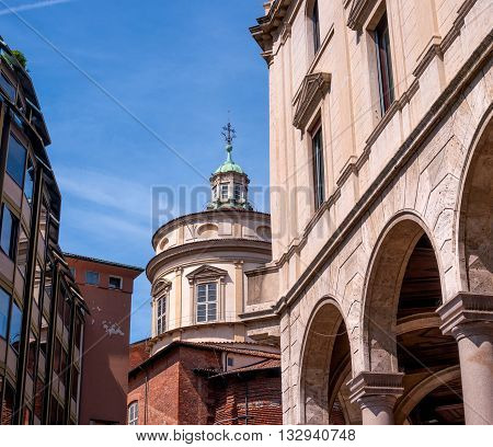 View of the dome of the church of San Fedele in Milan Italy. View from the square Filippo Meda.