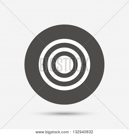 Target aim sign icon. Darts board symbol. Gray circle button with icon. Vector
