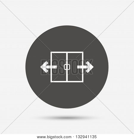 Automatic door sign icon. Auto open symbol. Gray circle button with icon. Vector