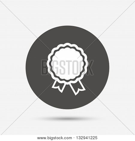 Award icon. Best guarantee symbol. Winner achievement sign. Gray circle button with icon. Vector