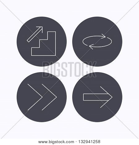 Arrows icons. Upstairs, next and repeat linear signs. Next arrow flat line icons. Flat icons in circle buttons on white background. Vector