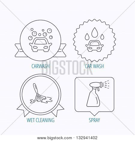 Car wash icons. Automatic cleaning station linear signs. Wet cleaning and spray flat line icons. Award medal, star label and speech bubble designs. Vector
