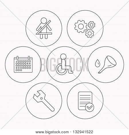 Wrench key, oil change and fasten seat belt icons. Disabled person linear sign. Check file, calendar and cogwheel icons. Vector