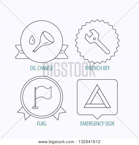 Flag pointer, emergency sign and wrench key icons. Emergency triangle, oil change linear signs. Award medal, star label and speech bubble designs. Vector