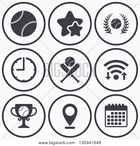 Clock, wifi and stars icons. Baseball sport icons. Ball with glove and two crosswise bats signs. Winner award cup symbol. Calendar symbol.