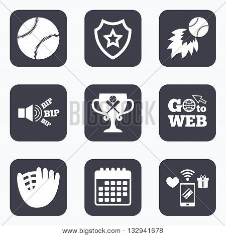 Mobile payments, wifi and calendar icons. Baseball sport icons. Ball with glove and two crosswise bats signs. Fireball with award cup symbol. Go to web symbol.