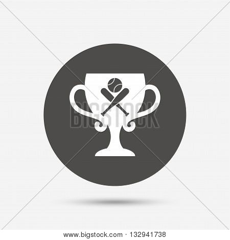 Baseball bats and ball sign icon. Sport hit equipment symbol. Winner award cup. Gray circle button with icon. Vector