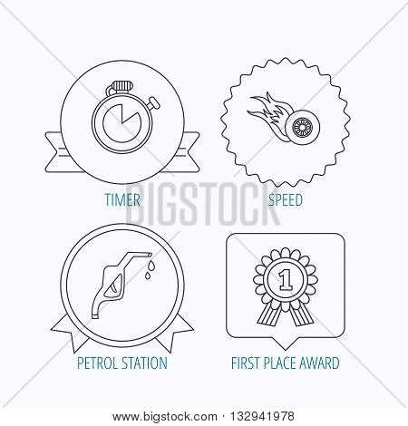 Winner award, petrol station and speed icons. Race timer linear sign. Award medal, star label and speech bubble designs. Vector