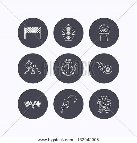 Race flags and speed icons. Winner medal, checkpoint and traffic lights linear signs. Timer and petrol station flat line icons. Flat icons in circle buttons on white background. Vector