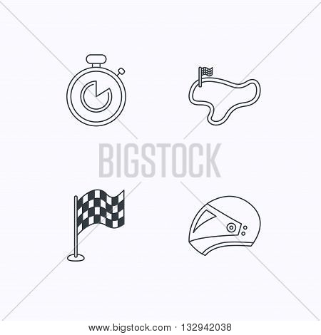 Race flag, timer and motorcycle helmet icons. Race lap linear sign. Flat linear icons on white background. Vector