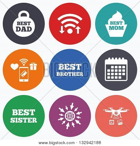 Wifi, mobile payments and drones icons. Best mom and dad, brother and sister icons. Weight and cupcake signs. Award symbols. Calendar symbol.