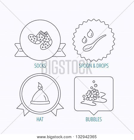Baby clothes, bath and hat icons. Socks, spoon with drops and bubbles linear signs. Award medal, star label and speech bubble designs. Vector