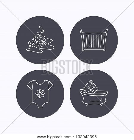 Baby clothes, bath and crib icons. Bath bubbles linear sign. Flat icons in circle buttons on white background. Vector
