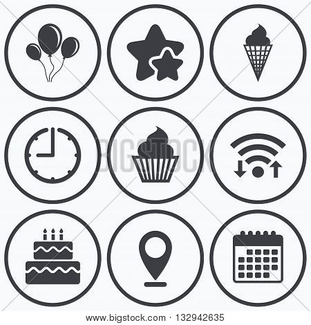 Clock, wifi and stars icons. Birthday party icons. Cake with ice cream signs. Air balloons with rope symbol. Calendar symbol.