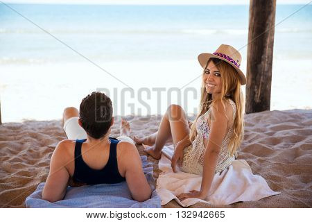 Young Couple At The Beach On A Sunny Day